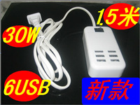 500pcs  Brand New  6 Ports USB Wall   Charger 5V 6A  EU US UK  Plug Power AC Adapter For Pad Phone Samsung LG mobile  charger