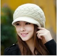CG-03 New arrival 2014 Autumn winter hat Female knitted hat Rabbit fur hat Fashion hats for women vogue women beanies homies