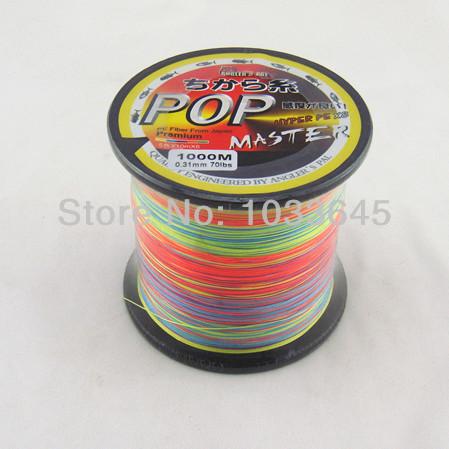 POP 1000M Premium Multicolor PE Line Fiber From Japan 1000m/spool 8Strands braided fishing line multifilament fishing line(China (Mainland))