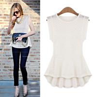 2015 Fashion Femininas Summer Sleeveless Cotton Blend Women's Slim Shirts Black White European Fashion High Street Blouse nz184