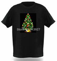 2014 New LED CHRISTMAS TREE t-shirt Light-Up LED Light Flashing EL Equalizer Christmas Party t shirt Boy for Rock Disco Party DJ