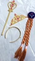Children Party Supplies Accessories Frozen Crown/Magic/Wig Sets Wand Elsa Anna Princess Crown Hair Accessories For Girls Gift