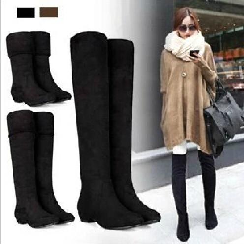 A forma das mulheres longas até o joelho Sexy botas magro mostrando novos salto baixo outono inverno Shoes Slip on lazer Folding Casual XWX500(China (Mainland))