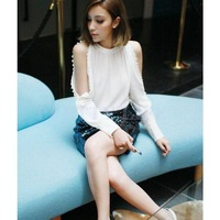 Free Shipping 2014 European Sexy Elegant Women Ladies Clothing Long Sleeve Off shoulder Shirt Tops Buttons Blouses B12 SV005929