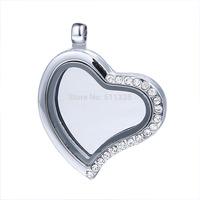 20pcs/lot 25mm rhinestone Heart Silver Living Floating charms locket pendant