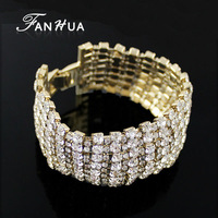 2014 New Arrivals Silver and Gold Color Full Created Crystal Luxury Bracelets and Bangles for Wedding Women