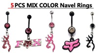 Distinctive Body Piercing Jewelry 5pc Pink Browning Deer Belly Navel Rings Fashion Jewelry FOX Deer