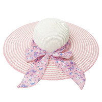2014 spring and summer fashion print bow striped straw hat large brimmed hat shading sun hat lady