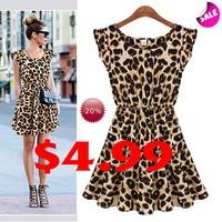 New 2015 Sexy Women Casual Dress Plus Size Leopard Print Sleeveless Ruffles Evening Party Dresses Girl Sundress Vestidos B003