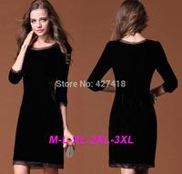 new 2014 autumn and winter O-neck sexy corduroy long-sleeve elegant slim sequins preppy vintage OL dress women free shipping