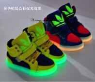 C&R* HOT Selling 2000 Pairs!! 2014 Luminous Fashion Kids Sneakers Boys,Girls Children Shoes Cool Children Boots
