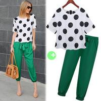 Blouse & Pants 2pcs/ Set 2014 New Women's Chiffon Short Sleeve Clothing, crop top and skirt set sport suit women brand
