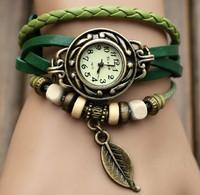 Electronic 2014 New Leaf Pendant Watch Design Cowhide Leather Women Dress Watches Fashion Ladies Wrist Watch Reloj Mujer
