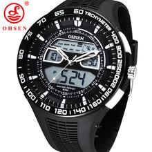 Ohsen relojes deportivos para hombre relojes 50 M impermeable cuarzo cronógrafo de la alarma del reloj grande del Dial blanco correa de caucho reloj Relogio Masculino