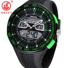 Ohsen relojes deportivos para hombre relojes 50 M impermeable cuarzo cronógrafo de la alarma reloj grande del Dial Rubber correa verde reloj Relogio Masculino