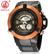 Moda Digital LED 2 Time Zone Mens Reloj deportivo militar relojes de cuarzo vestido ocasional Reloj Reloj Hombre Relogio Masculino