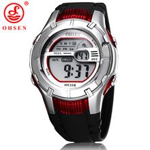 Ohsen Mens de la marca niños bebés digitales deportes mira el reloj 7 Colors luz de fondo LED multifuncional reloj militar del Relogio Feminino