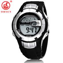 Ohsen Mens Boys Digital relojes deportivos blanco reloj 7 colores luz de fondo LED multifuncional reloj militar del Relogio Feminino