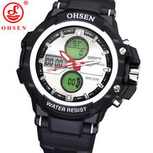 De moda OHSEN hombres chico relojes deportivos reloj exterior ocasional digitales de cuarzo llevó de múltiples funciones impermeable militar del ejército