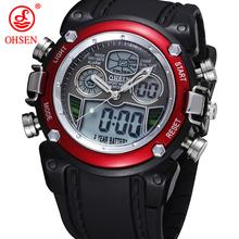 Ohsen análogo Digital LCD Dual Time Reloj Reloj Hombre Relogios Masculino impermeable Mens Boys Sport relojes de pulsera militar