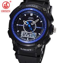 Militar del ejército OHSEN LCD Dual Core reloj para hombre deporte fecha día cronómetro luz de fondo azul Rubber Band reloj relojes de buceo