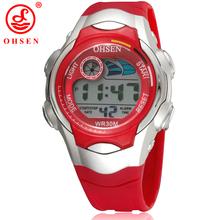Ohsen 7 colores de retroiluminación LED de alarma fecha cronómetro Red de la jalea del silicón niños niños niños LCD Digital relojes deportivos