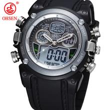 Nueva OHSEN reloj pantalla Digital analógico militar cronómetro alarma volver luz de goma hombres reloj del cuarzo del deporte del muchacho ocasional relojes