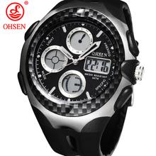 Nueva OHSEN hombres de la marca de relojes deportivos multifuncionales impermeables 2 zona horaria LED digitales cuarzo militar Casual vestido reloj de pulsera