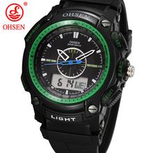 Militar del ejército OHSEN LCD Dual Core reloj para hombre deporte fecha día cronómetro luz de fondo Green Rubber Band reloj relojes de buceo