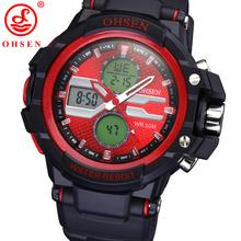 2014 nuevos hombres de deportes masculinos relojes Digital LED cuarzo alarma fecha día negro Rubber Band militar reloj de pulsera 5 colores