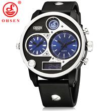 Moda Relogio Masculino deportes para hombre relojes Casual vestido reloj de cuarzo analógico Digital 3 zona horaria esfera azul reloj de pulsera de silicona