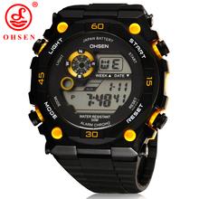 Nueva OHSEN hombres deportes relojes hombre reloj reloj Digital 7 luz LED multifuncional 50 M impermeable reloj militar