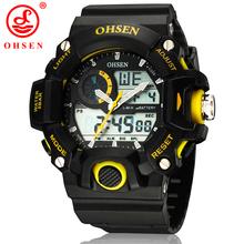 Nuevos Mens relojes deportivos OHSEN Casual LED Digital Alarm fecha día cronógrafo Backlight 50 M militar a prueba de agua amarillo reloj de pulsera