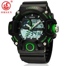 Hombres deportes relojes OHSEN de marca informal LED Digital Alarm fecha día cronógrafo Backlight 50 M militar a prueba de agua reloj verde