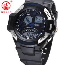 Ohsen marca deportes para hombre relojes moda Casual impermeable del cuarzo del reloj LED Digital analógico militar de múltiples pulsera