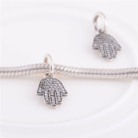 925 Sterling Silver Sparkling Protection Pendant Charm Bead with Clear CZ Fit European Jewelry Bracelets Necklaces