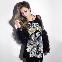 New 2014 Fashion Punk Style Tassel Gauze Skull Women T shirt Backless Sexy Long Sleeve Black Blouses Casual T-Shirt Tops 8763