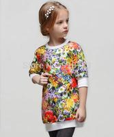 retail! 2014 new brand design European summer autumn children clothing girls dress flowers fashion princess high quality 2-12T