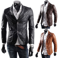 big size M-6XL free shipping new leather jacket for men casaul slim pu leather jackets Mens fashion Leather Suit waterproof coat