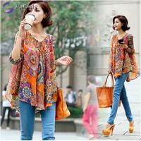 2014 New Autumn Korean Style Women Maternity Blouse Chiffon Loose Size Maternity Blouse Free Shipping w7141