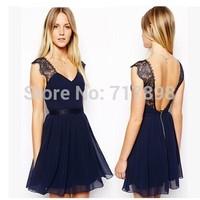 2014 vestidos women dress put a blue transparent tulle lace v neck splice lace dress vestido de festa winter dress