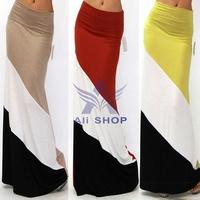2014 New Fashion Summer Women Long Maxi Skirt Sexy High Waist Striped Skirts Fashion Pencil Skirt for Beach Red Yellow 03697