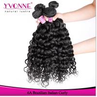 3Pcs/lot Curly Brazilian Virgin Hair,Grade 6A Italian Curly Hair Weave,100% Human Hair,Aliexpress YVONNE Hair,Color 1B