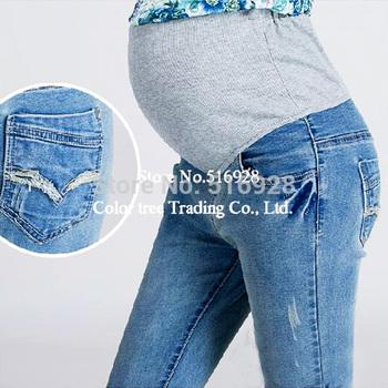 Elastic Талия 100% Хлопок Maternity Джинса Брюки For Pregnancy Clothes For Pregnant ...