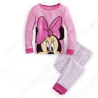 Retail Deluxe 2 Pcs Set Kids Sleepwear Suit  Top, LeggingsPajamas Minnie   girl cotton long sleeve  sets Fit 4-9 S023