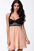 new 2014 novelty dresses Sexy Black Pink Rhinestone Cross back Skater Dress LC21486