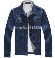 M-6XL Hot Sale Limited Conventional Regular Solid Single Breasted 2014 Men's Clothing Jean Jacket Men Denim Jackets for Men