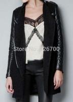 2014! New European Style Autumn/ Winter Women Trench  Cool PU Leather Sleeve Zipper Woolen Women Wool Blends Overcoat #L0007