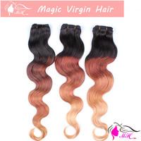 Ombre Three 3 Tone #1b/30/27 Color Brazilian Virgin Human Hair Weave Body Wave Weaving Extension