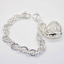 New 2015 Lovely Bracelets Women 925 Silver Sweetheart Hollow Out Heart Bracelet, Silver Plated Hand Chain Y70*MPJ035#M5